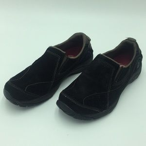 Merrell Black Leather (suede) slip on shoes